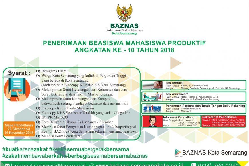 Pengumunan Seleksi Beasiswa Mahasiswa Produktif Angkatan Ke – 10 Baznas Kota Semarang Tahun 2018.